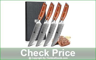 XINZUO 4-Piece Damascus Steel Straight Edge Steak Knife Set