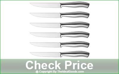 ISHETAO Dishwasher Safe 6-Piece Serrated Steak Knife Set