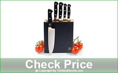 STYLED SETTINGS 7-Piece Gold Knife Set with Sharpener Block